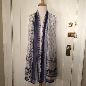 Piko 1988 Semi sheer blue white paisley long vest